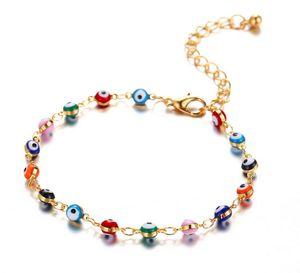 NEW Bohemian türkischen Augen Fußkettchen Ketten für Frauen Goldfarben-Perlen Sommer Ocean Beach Knöchel-Armband Fuß Fußkettchen Beinschmuck 2ST