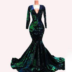 Emerald Green Velvet sera della sirena vestiti convenzionali con manica lunga 2020 Sparkly lusso Paillettes Winter Party Occasione Prom abito