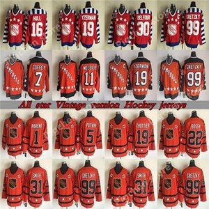 ALL STAR CCM Vintage jerseys 99 Gretzky 19 Yzerman 16 HULL 30 Belfour 31 SMITH 11 MESSIER Throwback Retro Hockey Jersey