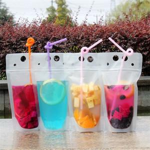 500ml Drink sacchetti dei sacchetti trasparente opaca portatili liquido Imballaggio Borse Stand-up Alcol sacchetto di plastica con paglia A03