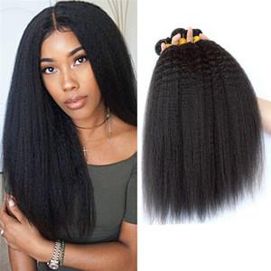 Kinky Straight Hair Extensions Yaki Cheveux Trame Weave Naturel Noir Couleur 1 Bundles Remy Réel Cheveux Humains