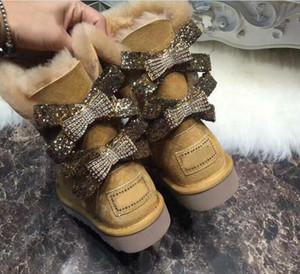 Новое прибытие 2019 Австралия Женщина зима классический снегоступы натуральная кожа коровы Женские ботинки снега высокого качества обувь US4-13