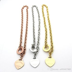 Hotstone88 famosa marca jewerly 316L acero titanio 18K chapado en oro collar cadena corta plata hombre corazón collar colgante para mujer pareja
