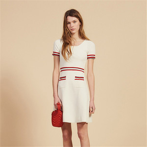 2020 Spring and Summer Designer Women's Soft Beige Short-sleeved Knit Dress Slim Temperament Skirt Hot Sale Spring Dress Fathion