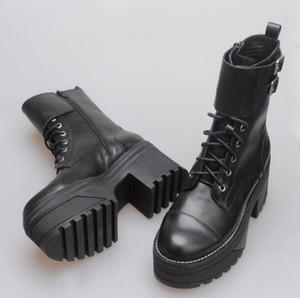 Frau echtes Leder Jeffrey Neuerscheinung Plateaustiefel Lace-up Campbell London Style Fashion Catwalk Ankle Boots Schuhe