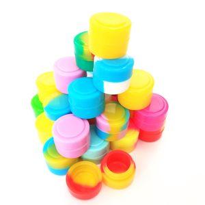 Silikon kaplar Kavanozlar 100 adet / grup Dabs için 2 ml mini karışık renk silikon konteyner Yuvarlak Şekil Silikon Kaplar balmumu
