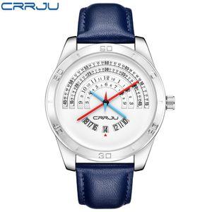 2020 CRRJU TOP band luxury Sports leather Watches Men's casual quartz calendar Clock Army Military Wrist Watch Relogio Masculino
