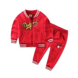 2019 Newest Spring Baby Boys Suits Korean Children Kids Cotton Fleece Jacket+Pants 2 Pcs Suits Infant Newborn Girls Clothes T200706