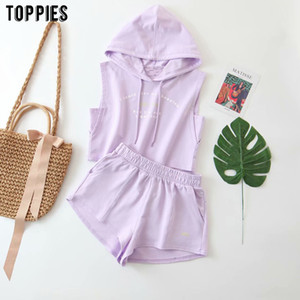 toppies summer tracksuits women sleeveless cropped tops elastic waist shorts two piece set hooded sweatshirts T200704