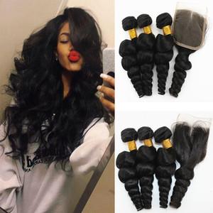 Свободная волна Бразильские пакеты волос девственницы с замыканиями Натуральный цвет перуанские человеческие волосы плетение с 4х4 замыкание волос 10-28 дюймов