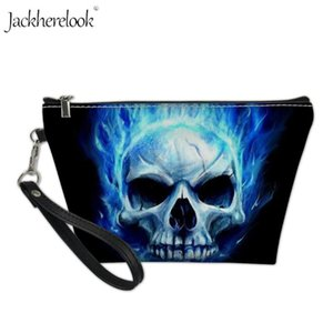Jackherelook Blue Flame Skull Print Cosmetic Bag  Women Daily Necessity Bag PU Leather Toiletry Pouch Makeup Organizer Bags Fire
