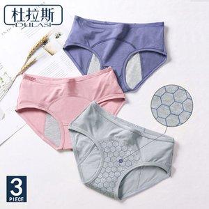 3pcs / set Menstrual Calcinhas Leakproof Lua calças de algodão Mulheres Roupa interior respirável Feminino Breve DULASI