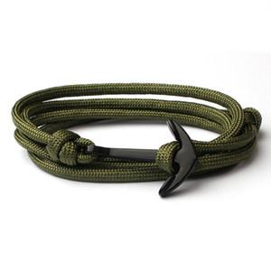 Colores negros Anchor Charm Bracelet Tejido a mano de múltiples capas Nylon Link Chains Pulsera Joyería de moda 10 colores