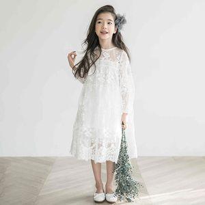Kızlar Dantel Elbise Yaz Prenses Parti Nakış Beyaz Elbise Küçük Kız Boyutu 10 11 12 14 Yıl Genç Giysileri J190514