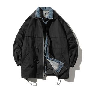 Mann gefälschte zweiteilige Jeans Jacke Herbst lässig Reißverschluss Mantel Männer / Frauen Hip Hop Streetwear Student Windbreaker Denim Jacken, GA428