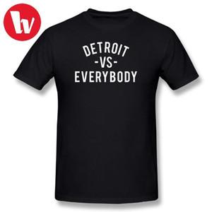 Футболка Music Печати футболок Detroit VS Everybody White Graphic Футболка Мужского печатный Tshirt с коротким рукав Футболка