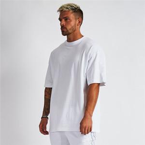 camicia oversize Plain T Uomini Gym Bodybuilding e Fitness casuale allentata Stile di vita di usura maglietta maschio Streetwear Hip-Hop maglietta T200219