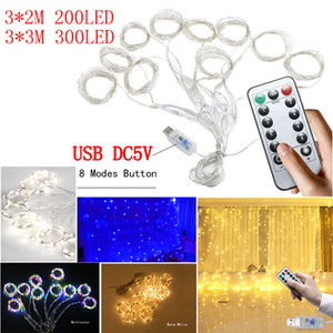 USB LED String Lights DC5V 3*3m 3*2m LED Window Curtain Lights Remote control Dimming Copper wire Christmas light Wedding Party Decorations