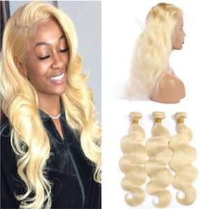 Bleach Blonde Indian Virgin Hair Tissages avec 360 Frontal Fermeture # 613 corps Blonde Human Wave Cheveux 3Bundles avec 360 Dentelle Frontal 22.5x4x2""