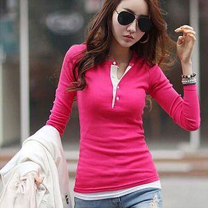 New Spring Autumn Women T-shirts Clothing Slim Long sleeve shirt Cotton V-neck Tops Tee Blusas Femininas t-shirt