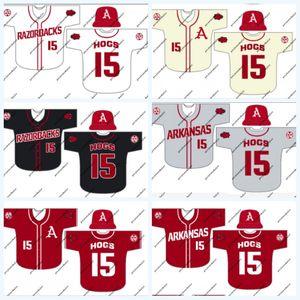 Arkansas 4 Trevor Ezell 16 Andrew Stanley 12 Casey Opitz 3 Zack Gregory 5 Jacob Nesbit Jack Kenley NCAA Koleji Baseball Jersey