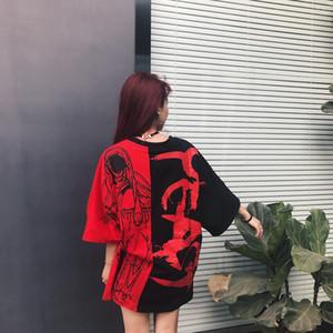 Remiendo de las mujeres del verano de Hip Hop Punk camiseta de algodón de gran tamaño Tee Shirts Harajuku Pareja Casual Streetwear Tops Ropa envío de la gota