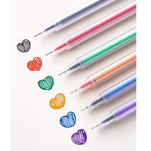 6шт Простого дизайна Цвет гель Ink Pen Set Matte Body Шариковая 0.5мм Лайнер фломастеры для рисования Подчеркивая школы A6080