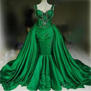 Ziad Naked Mermaid Overskirts Abiti da sera Verde Perline Sweetheart Strap Prom Dress Treno staccabile Yousef Aljasmi Abiti da festa