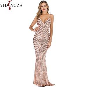 YIDINGZS Mermaid Gold Sequins Evening Dress Straps Party Sexy Vestido De Festa Long Prom Gown YD19009