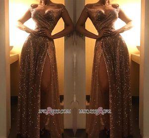 Дубай 2020 Sparkly с плеча золотыми блестками вечерние платья арабский сексуальный сплит выпускного вечера вечерние платья носить дешевые BC1409 Robe De Soir