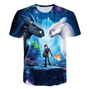 2019 Pocket Toothless T-shirt Hombres lindos Tops Cómo entrenar a tu dragón Camisetas de dibujos animados Camiseta 3D Verano Ropa gris Camiseta de algodón