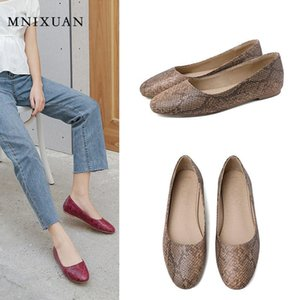 MNIXUAN Comfortable slip on loafers women flat shoes 2020 new round toe snake print shallow casual ladies flats red big size 44