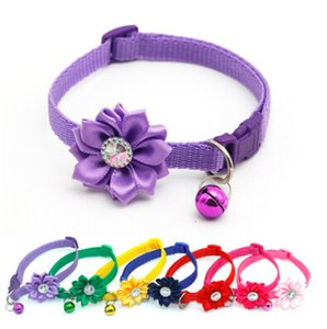 Flower Bell Dog Collar Pet Bell Necklace Creative Lovely Rhinestone Dog Cat Collars Plastic Puppy Chain Kitten Teddy Diamond Necklaces