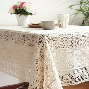 100% Cotton Knitted Lace Tablecloth Shabby Chic Vintage Crocheted Tablecloth Handmade Cotton Lace Table Topper Y200421