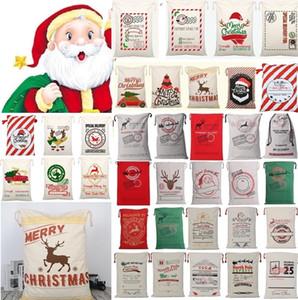 Nuevo 36 estilos lienzo de Navidad bolsa con cordón con asas de los renos de Santa saco de lona bolsas de cordón actual bolso Bolsas de Navidad Decoración