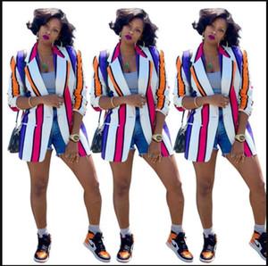 Womens Contrasto colore del vestito Jackets Spring Fashion Designer a righe stampato risvolto del collo Giacchette casual Moda Abbigliamento Donna