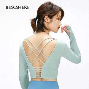 BESCSHERE Back Cross Straps Yoga Fitness Shirts Women Padded Anti-sweat Gym Workout Long Sleeved Crop Tops with Thumb Holes