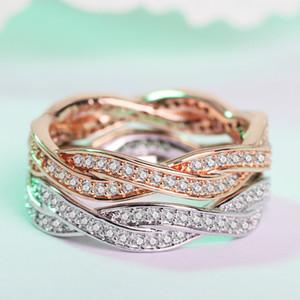 Chic Simples Rose banhado a ouro Cor Winding Anéis para jóias de Mulheres das senhoras na moda Duplo Row zircão anel de casamento Bague Femme