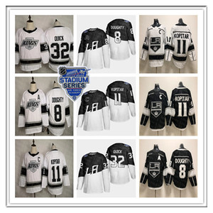 Homens Los Angeles LA Kings 2020 Stadium Series Jerseys 11 Anze Kopitar 8 Drew Doughty 32 Jonathan Quick Alec Martinez Gretzky Black White