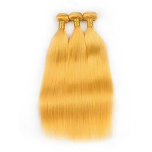 """Cabello humano indio de color amarillo recto 3 paquetes de 300 gramos de color amarillo puro Remy de la Virgen Extensiones de la armadura del cabello humano dobles tramas 10-30 """""""