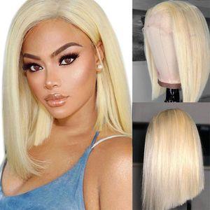 613 Color rubio T Peluca de encaje humano Pelucas de encaje de pelo natural Negro Color Blonde Hair Bob WIG Brasileño Pelucas de pelo humano peruano