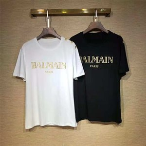 2019 Balmain Mens Stylist camisetas preto do branco dos homens Fashion Stylist camisetas Top manga curta S-XL
