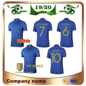 2019 2 sterne # 10 mbappe 100 jahre fußball jersey 19/20 100th griezmann pogba fußball shirt kante giroud blau fußballuniformen verkäufe