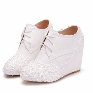 Crystal Queen Women FASHION 8CM Heels Ankle Boots Wedges Female WHITE Lace Up Platforms Autumn Winter White Shoes Woman High Heels