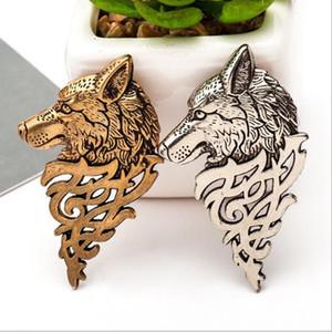 레트로 늑대 남성 동물 브로치 액세서리 골드 브론즈를 들어 배지 브로치 옷깃 핀 셔츠 정장 칼라 보석 모양의