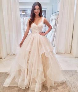 Increspato Tulle Paese abiti da sposa 2020 New vendita calda di sfera su misura abito della cinghia di spaghetti della principessa Bridal Gowns Vestios De Matrimonio W171