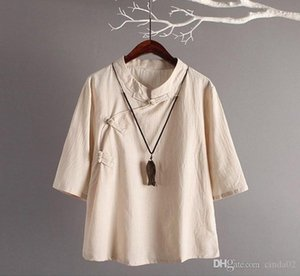 Chinese Style Linen Top New Retro Art Cotton Oblique Buttons Seven Sleeves Loose Linen Tops Women Traditional Chinese Clothing