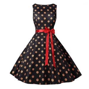 Beiläufige Kleider Mode Herbst-Kürbis-Kopf-Druck Schärpen Frauen Kleider Mode Frauen Kleidung Frauen Saints Day