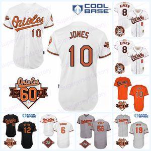 Erkekler 25/60 anma yaması 8 Cal Ripken Jr. 1981-2001 Forması 5 10 Adam Jones 1966 13 Manny Machado 25. Hatıra Beyzbol Formaları