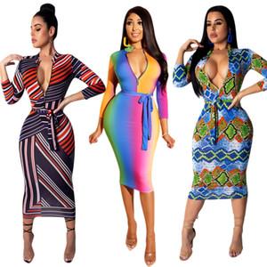 À rayures Sexy Bodycon Dress Femmes À Manches Longues Col V Profond Discothèque Robes De Soirée 2019 Printemps Club Porter Avant Zipper Bandage Robe Vestidos